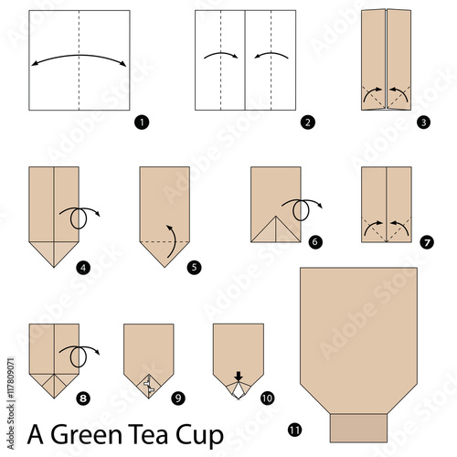 Step By Instructions How To Make Origami A Green Tea Cup