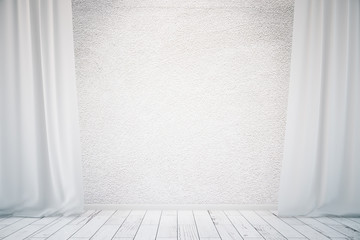 Concrete wall with white curtains