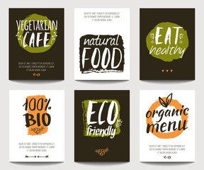 Vector set with eco friendly and organic food templates. Trendy vegetarian posters for flyers, banners, restaurant or cafe menu design. Natural food and healthy lifestyle concept.