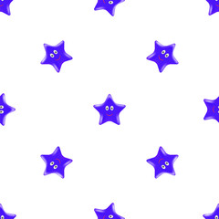 Blue Star Seamless Pattern. Smiling Star Isolated on White Background