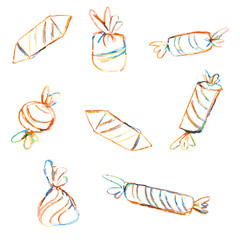 Candy hand drawn illustration isolated on white background, Set of different colorful sweet, hand drawn doodle vector, painted coloring pencils, sketch for design patterns, greeting card, scrapbook