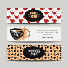 Vector set of modern banners with coffee backgrounds. Trendy hipster templates for flyers, posters, invitations, restaurant or cafe menu design.