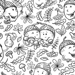 Doodle vector seamless pattern with acorn characters and leaves