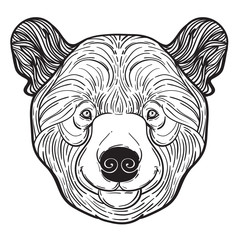 Animal teddy Bear head print for adult anti stress coloring page. Ethnic patterned ornate hand drawn vector illustration. symbol of Siberia, Russia. Sketch for tattoo, poster, print or t-shirt.