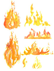 Deurstickers Vuur Watercolor flame set. Different kids of flames and fire. Fire element. Light, heat and danger.