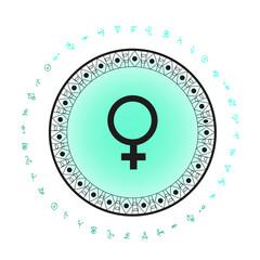 Venus planet symbol background. Bohemian style