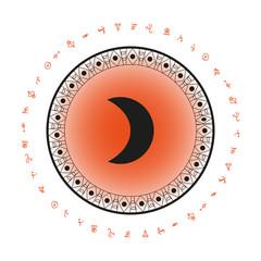 Moon symbol background. Bohemian style