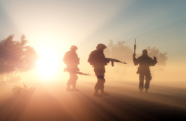 Group of soldiers in the fog.