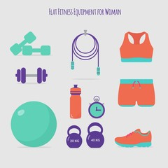 Cute fitness equipment for woman in flat style