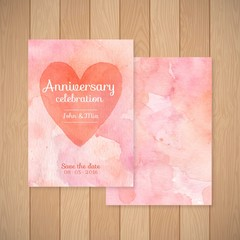 Watercolor anniversary celebration card