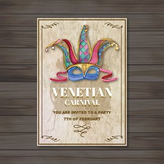 Watercolor venetian mask poster