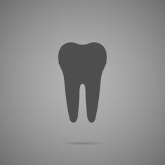 tooth on gray background, vector illustration