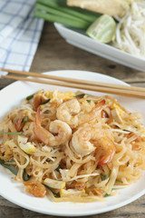 "Thai Fried Noodle ""Pad Thai"" with shrimp and vegetables."