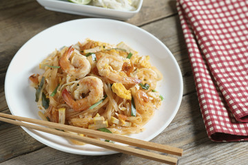 "Thai Fried Noodle ""Pad Thai"" with shrimp."