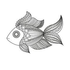 doodle coloring monochrome fish