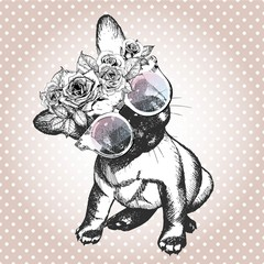 Vecotr portrait of dog, wearing the floral wreath and sunglasses. French bulldog breed.