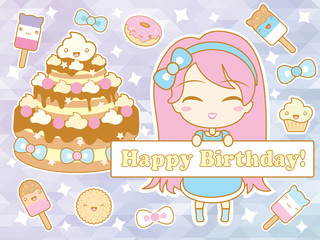 Happy birthday card with cute smiling cartoon chibi girl