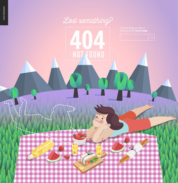 404 error template of young couple on picnic- flat cartoon vector illustration of young woman laying near outline of disappeared man on checkered plaid in landscape with mountains, trees and lilac sky