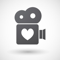 Isolated retro cinema camera icon with  the heart poker playing