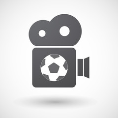 Isolated retro cinema camera icon with  a soccer ball