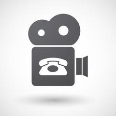 Isolated retro cinema camera icon with  a retro telephone sign