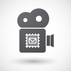 Isolated retro cinema camera icon with  a mail stamp sign
