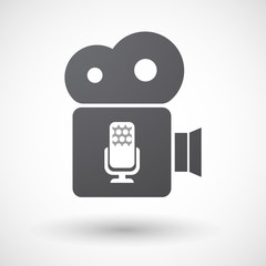 Isolated retro cinema camera icon with  a microphone sign