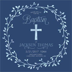 Blue Boy's Baptism/Christening/First Communion/Confirmation Invitation with Watercolor Cross and Floral Wreath Design - Vector