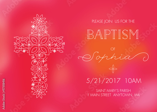 Girls baptism christening first communion or confirmation girls baptism christening first communion or confirmation invitation card template with cross stopboris Images