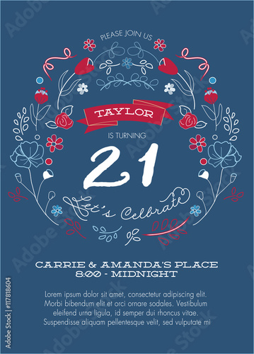 21st birthday party invitation template vector red white and