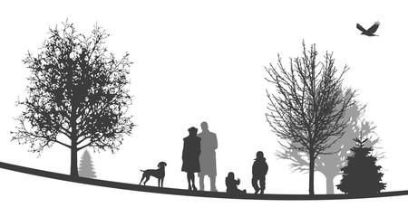Winterliche Landschaft | Junge Familie spielt mit Hund im Park