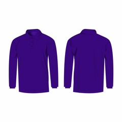 Violet long sleeve polo isolated vector
