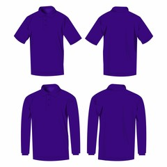 Violet polo shirt and polo with long sleeve isolated vector set