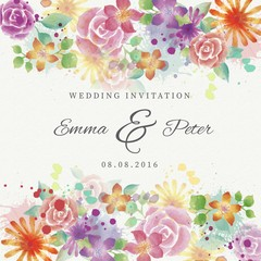 Watercolor beautiful flowers wedding invitation