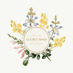 Watercolor Garden Flowers Banner