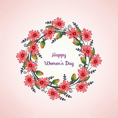 Cute hand drawn red floral wreath women's day background