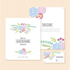 Cute hand drawn flowers wedding invitations