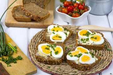 delicious sandwiches with of wholemeal bread with eggs and chives