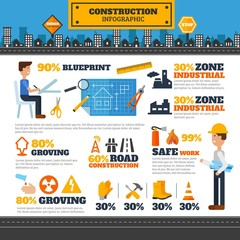 Architects and construction elements infography