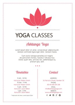 Pink flower yoga classes with timetables flyer