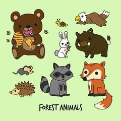 Funny cartoon forest animals