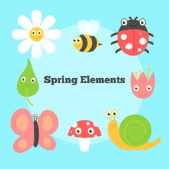 Funny insects and flowers in spring season