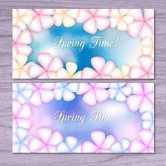 Flowers on a blur background spring banners