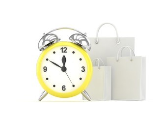 alarm clock and shopping bag (time to buy concept). 3d rendering.