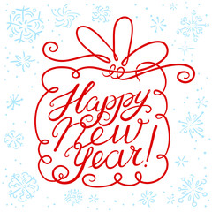 Happy New Year lettering with giift and snowflakes