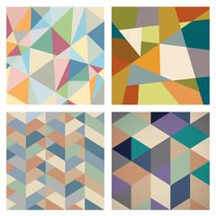 Fototapete - Four Retro Geometric backgrounds for design
