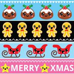 Christmas cute Kawaii seamless pattern with happy characters