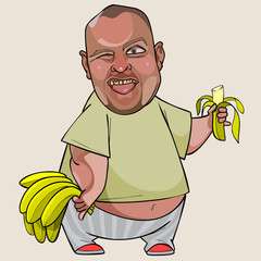cartoon fat man with a banana in his hand showing tongue