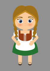 Girl cartoon costume traditional icon. Germany. Colorfull illustration