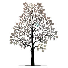 Tree silhouette with leaves isolated on white background